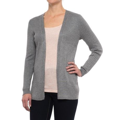 Cable & Gauge Open-Front Ribbed Cardigan Sweater (For Women) in Heather Grey