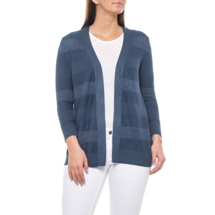 2711c72bf5cd57 Cable & Gauge Pointelle Denim Heather Open Front Cardigan Sweater - 3/4  Sleeves (
