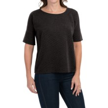 Cable & Gauge Quilted T-Shirt - Short Sleeve (For Women) in Heather Charcoal Grey - Closeouts