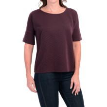 Cable & Gauge Quilted T-Shirt - Short Sleeve (For Women) in Royal Plum - Closeouts