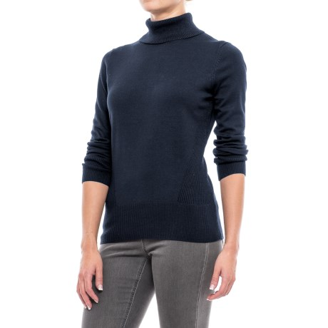 Cable & Gauge Rib-Trim Turtleneck Sweater (For Women) in Black