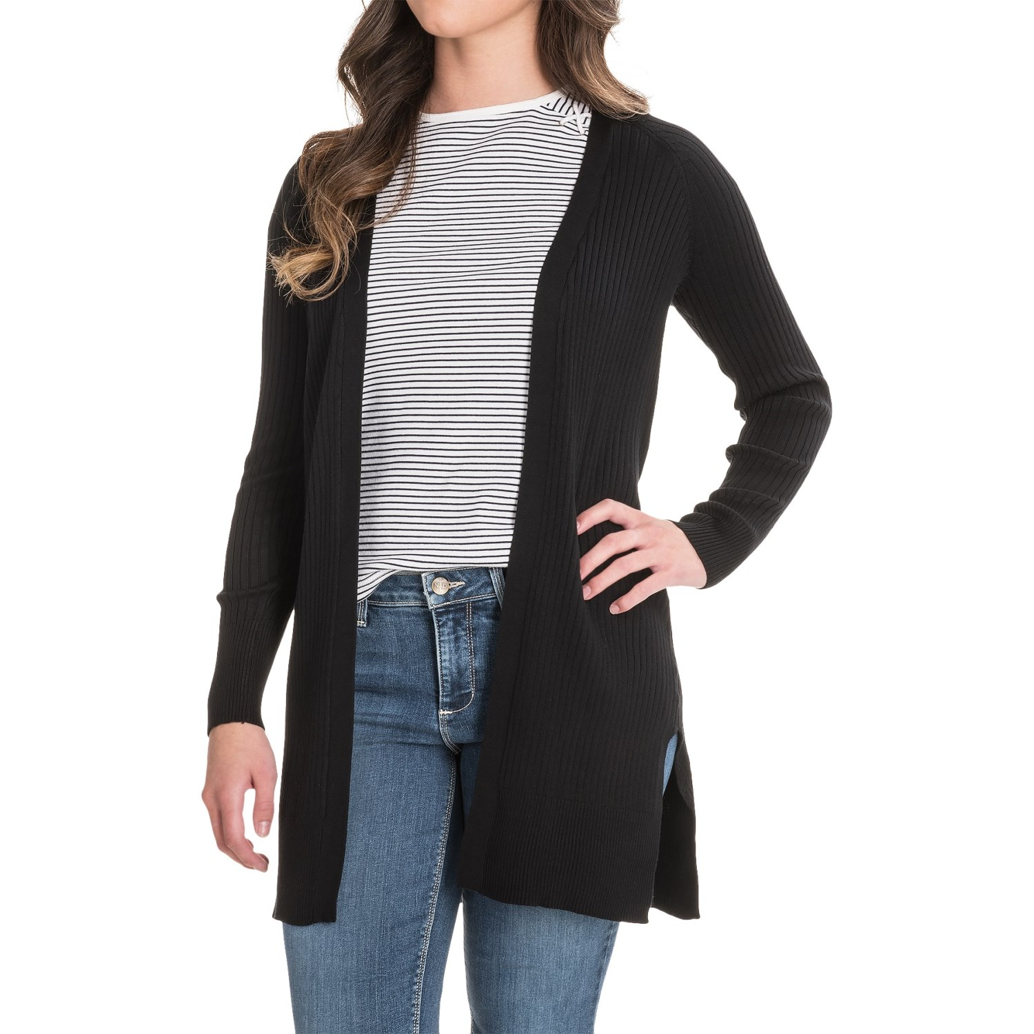 Cable & Gauge Ribbed Cardigan Sweater (For Women) - Save 50%
