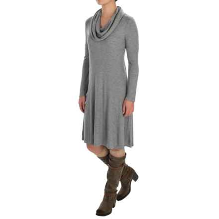 Cable & Gauge Ribbed Cowl Neck Dress - Long Sleeve (For Women) in Heather Grey - Overstock