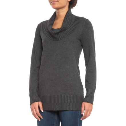 Cable & Gauge Ribbed Cowl Neck Tunic Sweater (For Women) in Heather Charcoal Grey - Closeouts