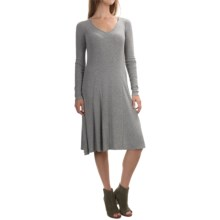 Cable & Gauge Ribbed V-Neck Swing Dress - Long Sleeve (For Women) in Heather Grey - Overstock