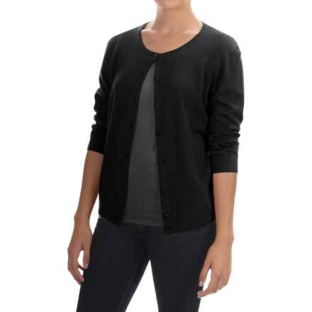 Cable & Gauge Solid Vintage Cardigan Sweater - 3/4 Sleeve (For Women) in Black - Overstock