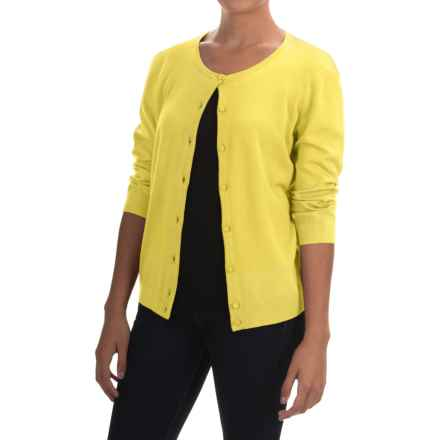 Cable & Gauge Solid Vintage Cardigan Sweater - 3/4 Sleeve (For Women) in Daffodil Yellow - Overstock