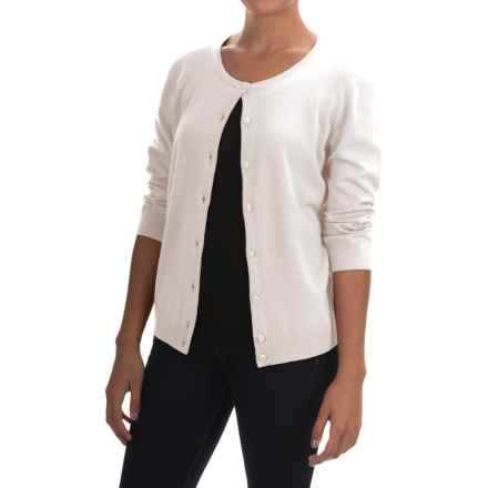 Cable & Gauge Solid Vintage Cardigan Sweater - 3/4 Sleeve (For Women) in Ivory - Overstock