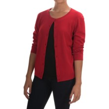 Cable & Gauge Solid Vintage Cardigan Sweater - 3/4 Sleeve (For Women) in Red Lacquer - Overstock