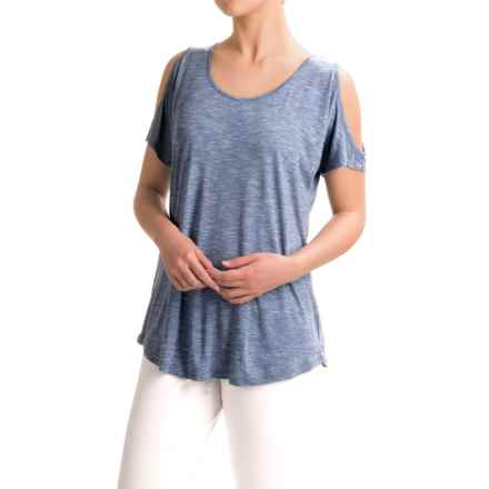 Cable & Gauge Sport Cold-Shoulder Shirt - Viscose, Short Sleeve (For Women) in Blue/Ivory - Closeouts