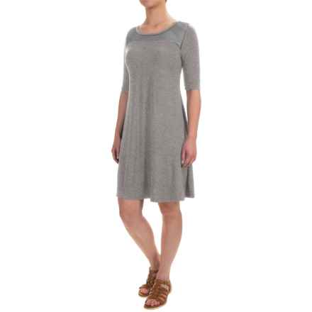Cable & Gauge Sport Mesh-Yoke Dress - Elbow Sleeve (For Women) in Heather Grey - Closeouts