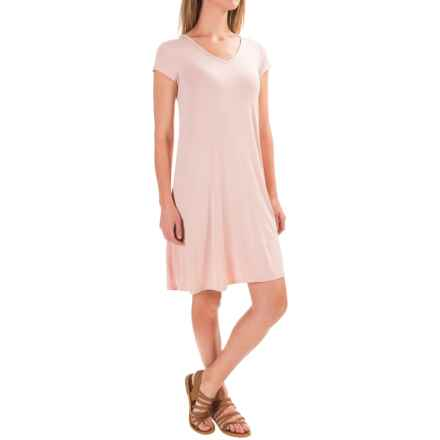 Cable & Gauge Sport Swing High-Low Dress - Short Sleeve (For Women) in Pink Satin - Closeouts