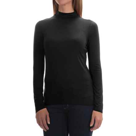Cable & Gauge Stretch Modal Turtleneck - Long Sleeve (For Women) in Black - Overstock