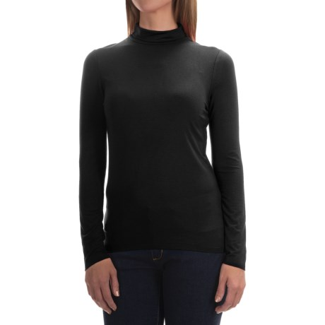 Cable & Gauge Stretch Modal Turtleneck - Long Sleeve (For Women)