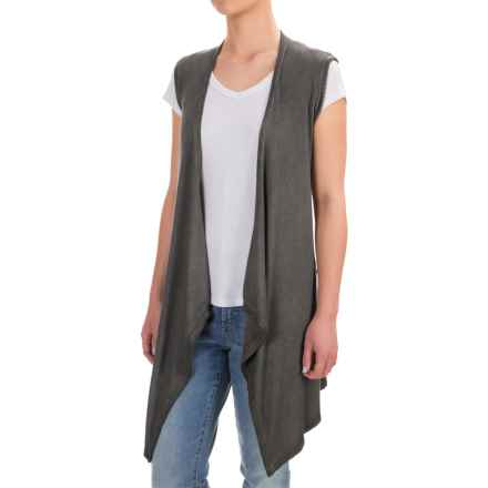 Cable & Gauge Stretch Rayon Enzyme-Wash Vest (For Women) in Distress Charcoal - Closeouts