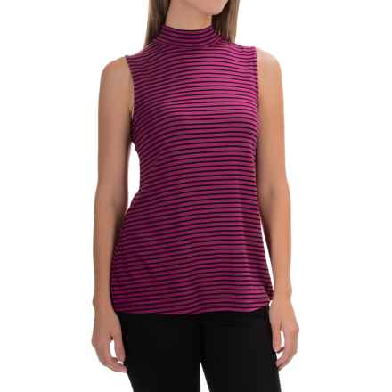 Cable & Gauge Striped Mock Neck Tank Top (For Women) in Exotic Berry/Black - Overstock