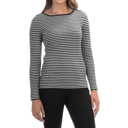 Cable & Gauge Striped Wide Neck Sweater (For Women) in Black/White - Overstock