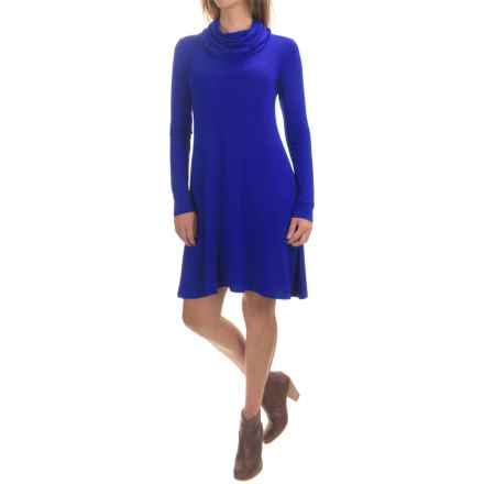 Cable & Gauge Swingy Cowl Neck Dress - Long Sleeve (For Women) in Autumn Blue - Overstock