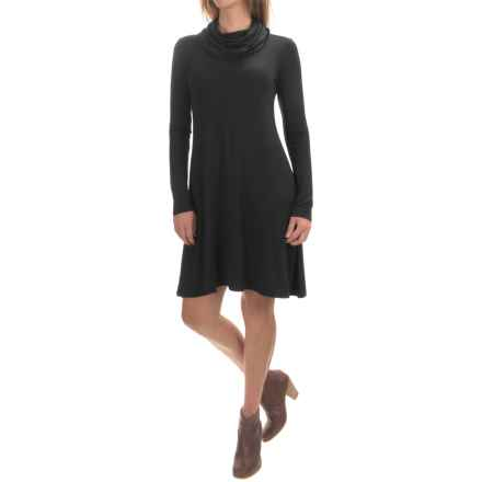 Cable & Gauge Swingy Cowl Neck Dress - Long Sleeve (For Women) in Black - Overstock