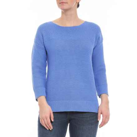 7486231a6af9da Clearance. Cable   Gauge Sydney Blue Ribbed Pullover - Elbow Sleeves (For  Women) in Sydney