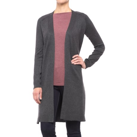 Cable & Gauge Tunic Cardigan Sweater - Open Front (For Women)