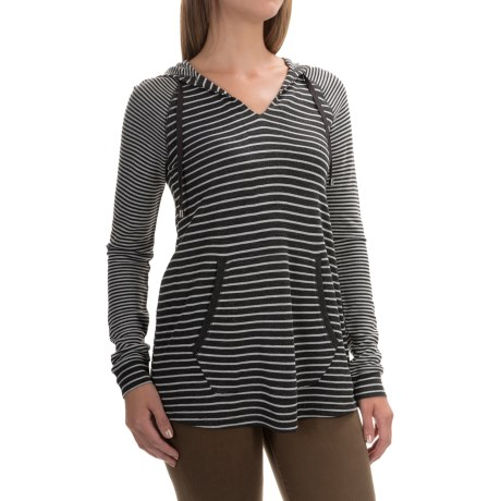 Cable & Gauge V-Neck Hoodie (For Women) in Charcoal Grey/Ivory Stripe