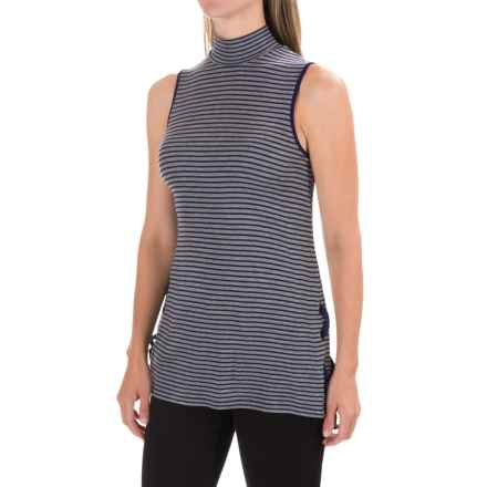 Cable & Gauge Viscose Mock Turtleneck - Sleeveless (For Women) in Heather Grey/Navy - Closeouts