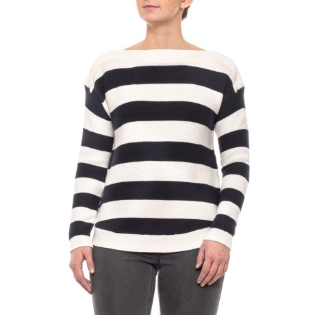 5264657bdbee8a Cable   Gauge White-Navy Blue Striped Boat Neck Sweater (For Women ...
