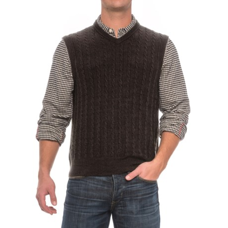 Cable-Knit Sweater Vest - Sleeveless (For Men) in Black