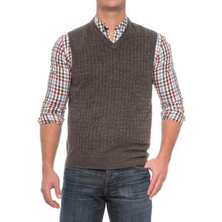 Cable-Knit Sweater Vest - Sleeveless (For Men) in Charcoal Heather - Closeouts