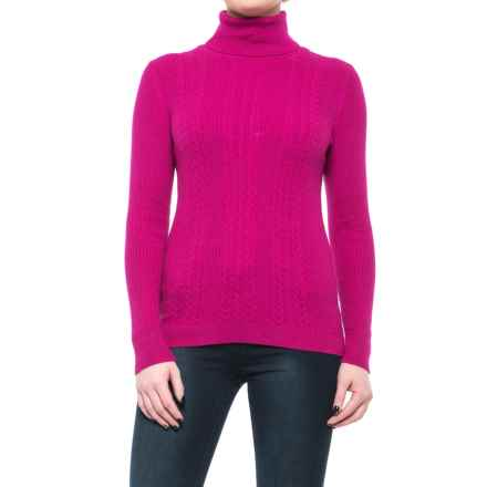 Cable-Knit Turtleneck Sweater (For Women) in Fuchsia - 2nds