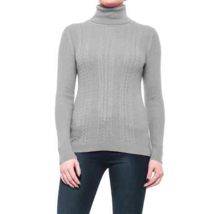 Cable-Knit Turtleneck Sweater (For Women) in Grey Heather - 2nds