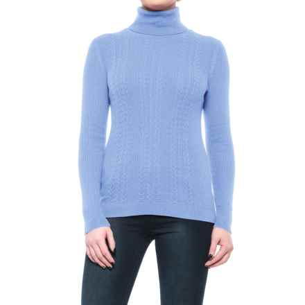 Cable-Knit Turtleneck Sweater (For Women) in Periwinkle - 2nds