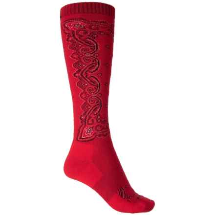 Cabot & Sons Bandana Ski and Ride Socks - Merino Wool, Mid Calf (For Women) in Red - Closeouts