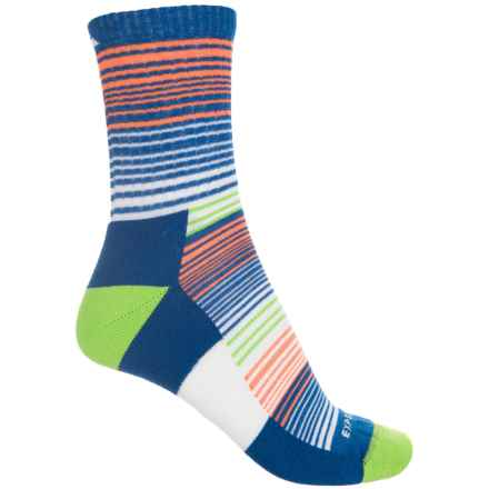 Cabot & Sons CoolMax® Stripes Active Socks - Quarter Crew (For Women) in Nautical Blue - Closeouts