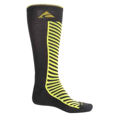 Cabot & Sons Diagonal Stripe Ski Socks - Merino Wool, Mid Calf (For Men) in Black/Sulphur - Closeouts