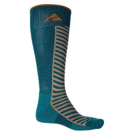 Cabot & Sons Diagonal Stripe Ski Socks - Merino Wool, Mid Calf (For Men) in Deep Sapphire - Closeouts