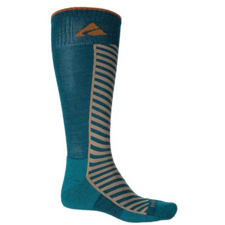 Cabot & Sons Diagonal Stripe Ski Socks - Merino Wool, Mid Calf (For Men) in Deep Sapphire