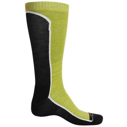 Cabot & Sons Fault Line Ski Socks - Merino Wool, Over the Calf (For Men) in Black/Green - Closeouts