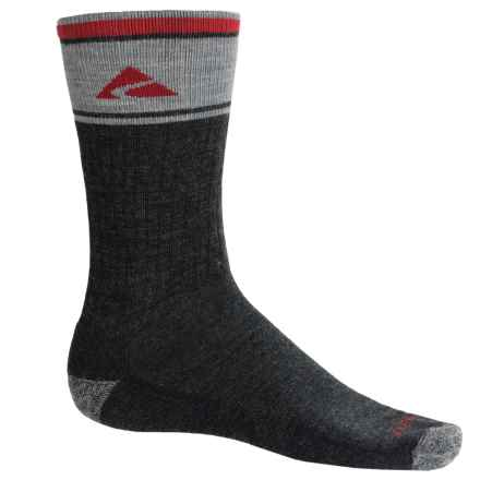 Cabot & Sons Hiking Socks - Merino Wool, Crew (For Men) in Charcoal/Red - Overstock