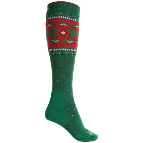 Cabot & Sons Holiday Snowflake Ski Socks - Over the Calf (For Women) in Emerald