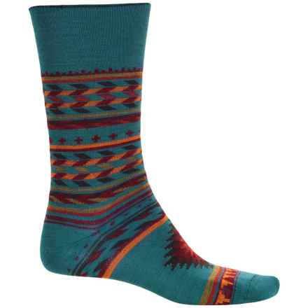 Cabot & Sons Inca Stripes Socks - Merino Wool, Crew (For Women) in Teal - Closeouts
