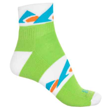 Cabot & Sons Mountain Logo CoolMax® Trail Socks - Quarter Crew (For Women) in Jasmine Green/White - Closeouts
