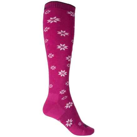 Cabot & Sons Snowflake Ski Socks - Merino Wool, Over the Calf (For Women) in Bosenberry - Closeouts