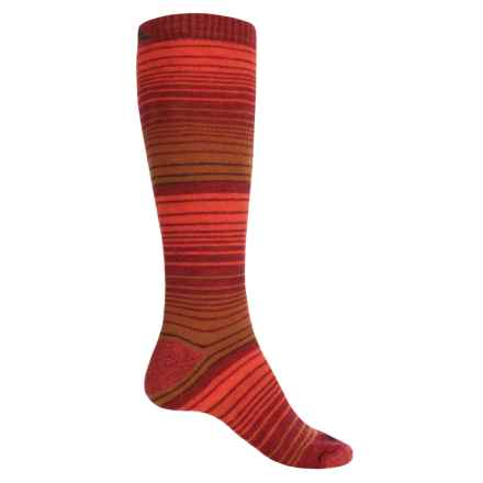 Cabot & Sons Striped Ski Socks - Merino Wool, Mid Calf (For Women) in Berry/Brown/Tomato Red - Closeouts