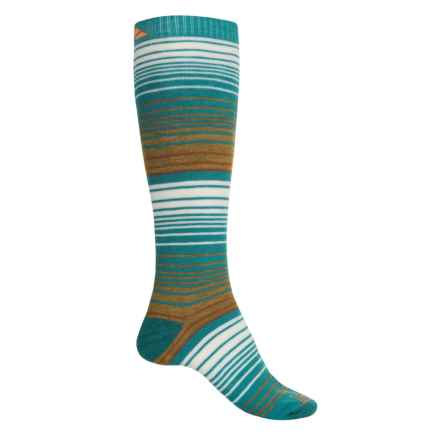 Cabot & Sons Striped Ski Socks - Merino Wool, Mid Calf (For Women) in Teal/Dirty Gold - Closeouts