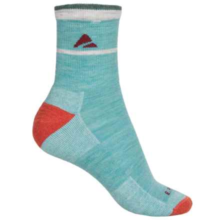 Cabot & Sons Trail Socks - Merino Wool, Quarter Crew (For Women) in Aqua Heather - Overstock