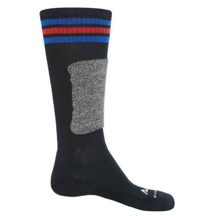 Cabot & Sons Triple Stripes Ski Socks - Merino Wool, Mid Calf (For Men) in Black/Marine Blue - Closeouts