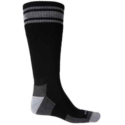 Cabot & Sons Varsity Stripe Ski and Ride Socks - Merino Wool, Mid Calf (For Men) in Black/Light Grey - Closeouts