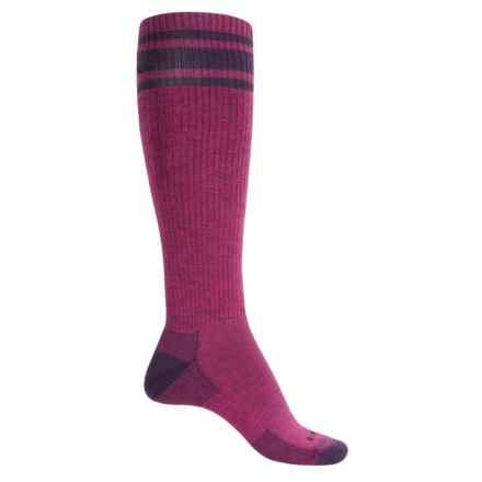 Cabot & Sons Varsity Stripe Ski Socks - Merino Wool, Mid Calf (For Women) in Bosenberry/Nightshade - Closeouts